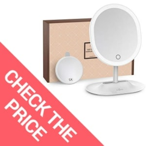 Anjou Makeup Mirror Rechargeable LED Lighted with 1X / 5 X Magnification